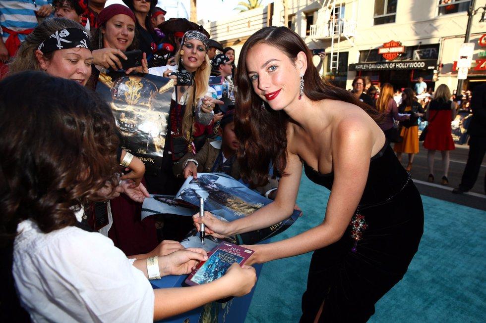 La actriz Kaya Scodelario en la premiere de Piratas del Caribe La Venganza de Salazar en California. Getty Images