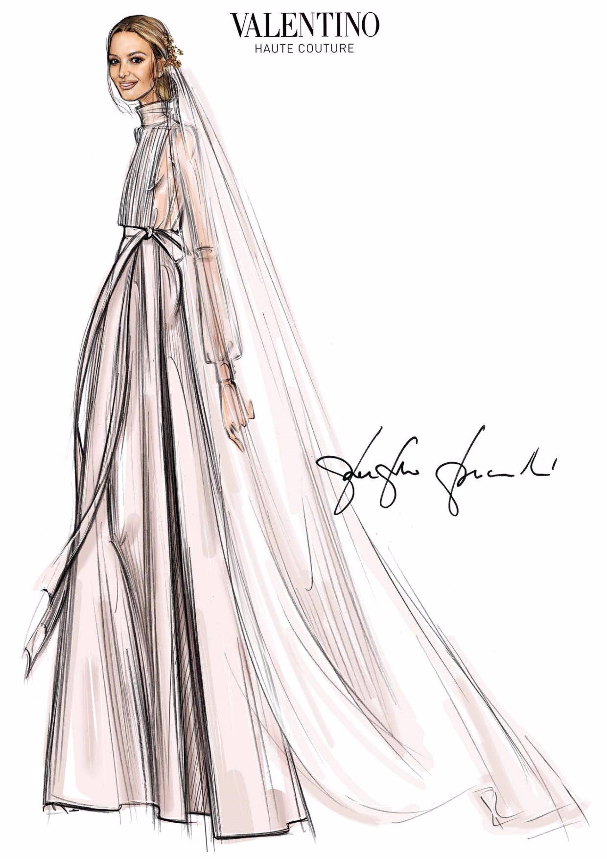 Marta Ortega, boceto muy guapa vestida de novia por Valentino