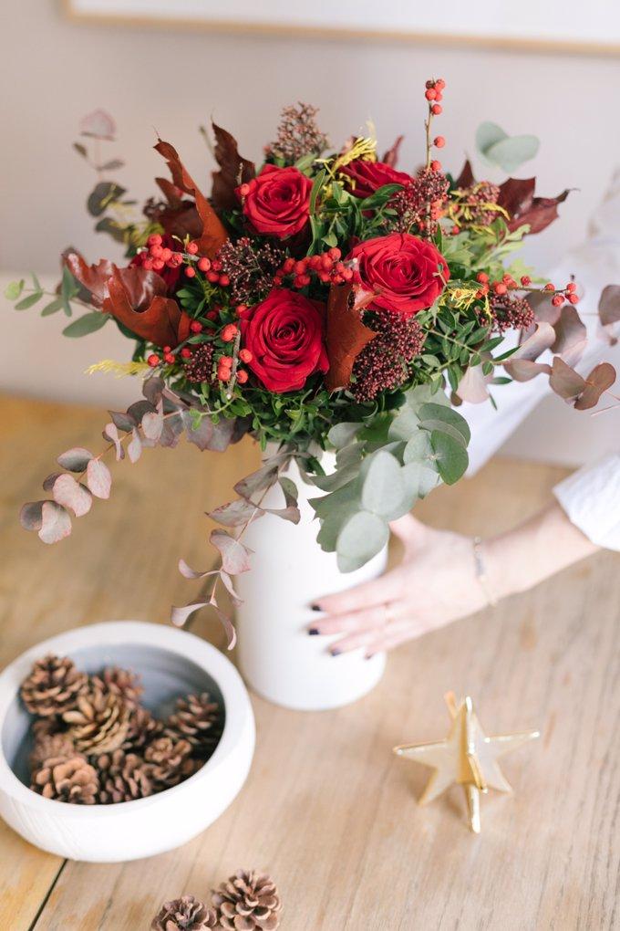 Flores red velvet para una navidad con pasión