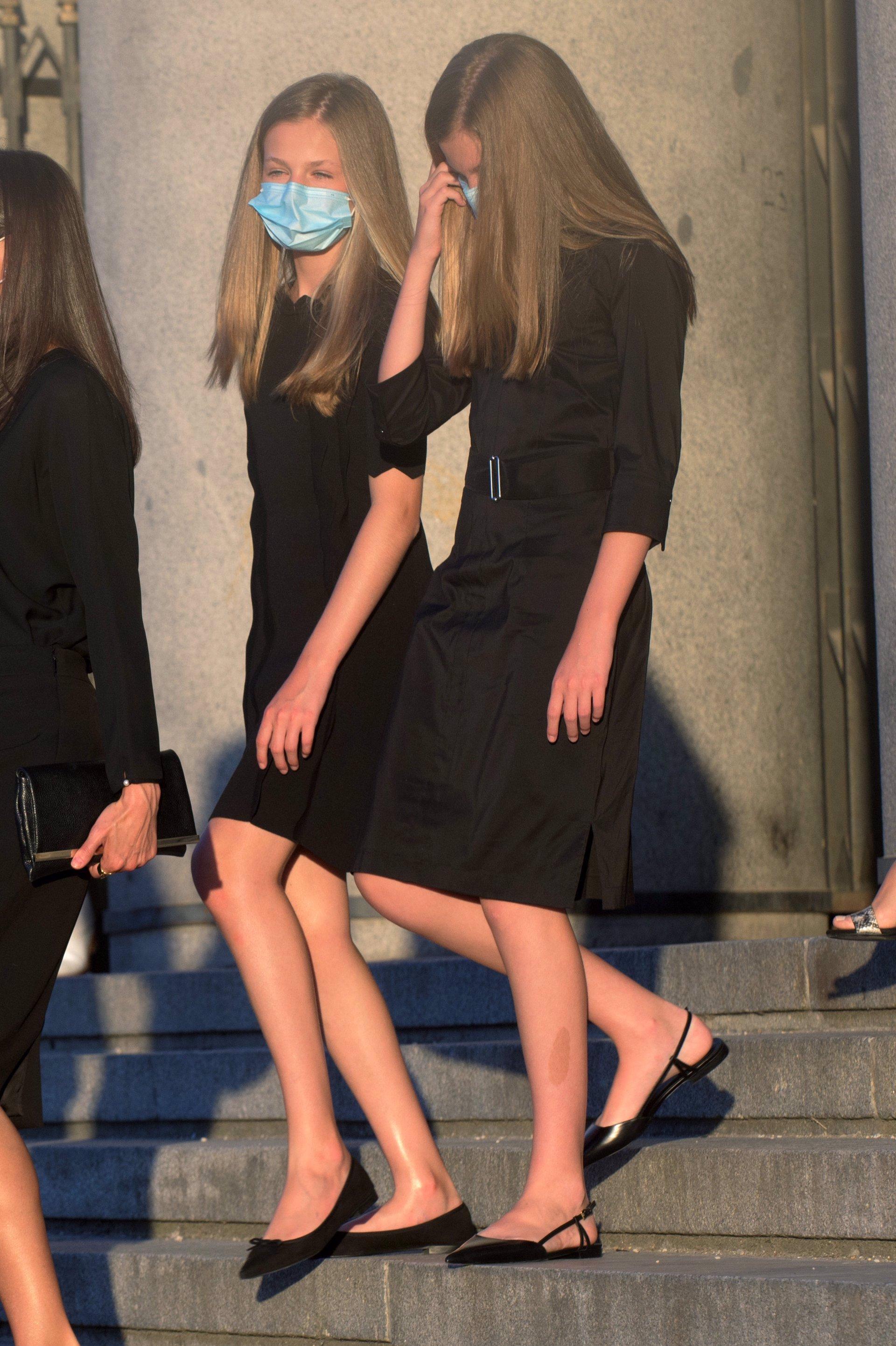 Leonor y Sofía en el Funeral de Estado