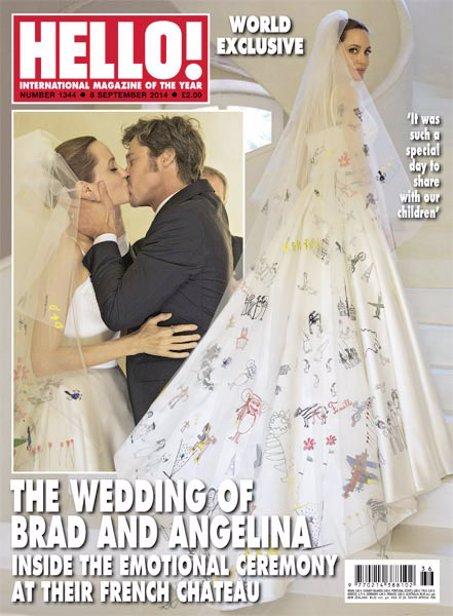 Brad Pitt besa efusivamente a Angelina Jolie esposa en su boda