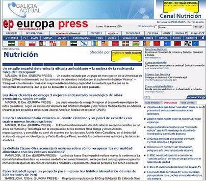 El nuevo canal de nutrición de Europa Press en Internet ofrece foros, reportajes y noticias sobre salud y bienestar