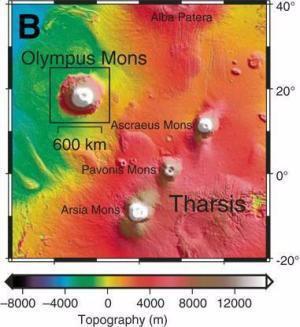 Monte Olimpo en Marte.