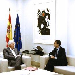 Cayo Lara y Zapatero en Moncloa