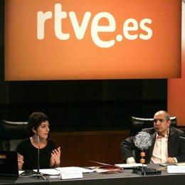 Luis Fernández y Rosalía Lloret en una presentación de rtve.es