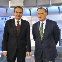 Zapatero y Piqueras en Informativos Telecinco