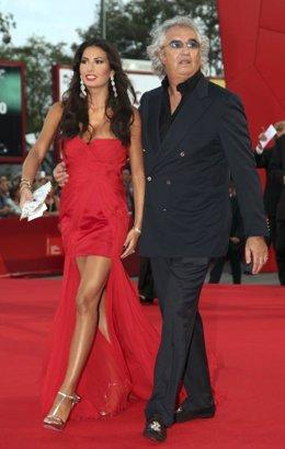 Flavio Briatore y Elisabetta Gregoraci llegando al Festival de Venecia en 2009