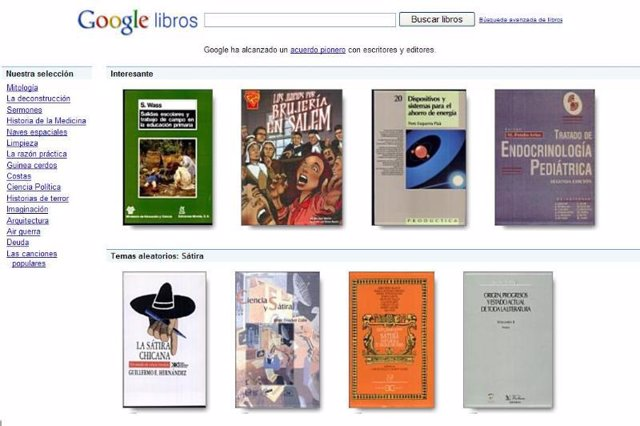 Pantalla de Google Libros