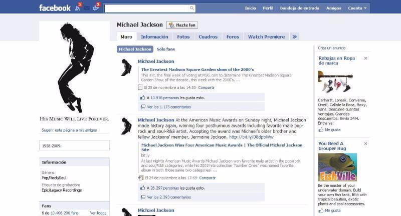Michael Jackson es el más popular del mundo en Facebook
