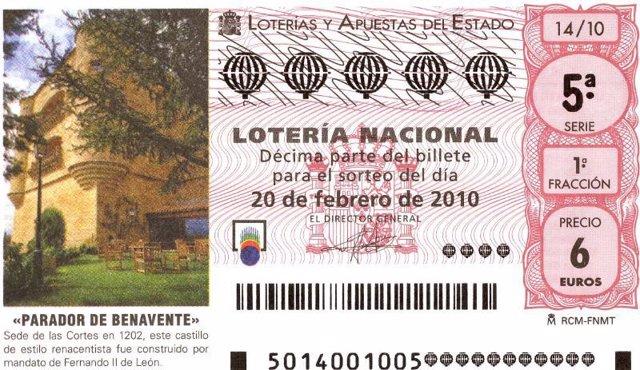 Imagen Del Décimo De Lotería Del Próximo Sábado