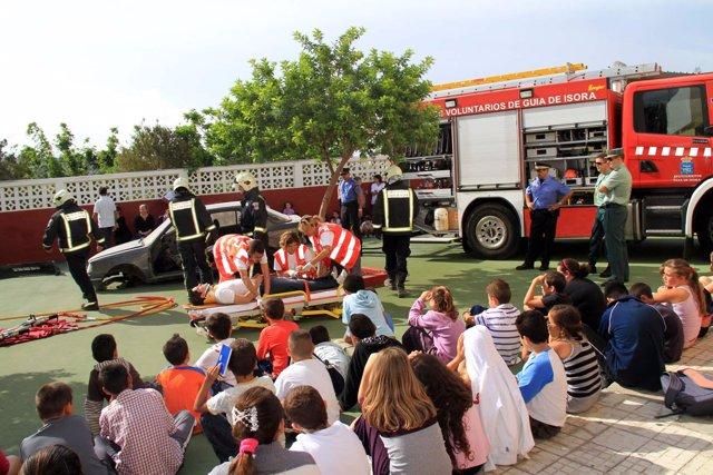 Evacuan Con Éxito Un Colegio En Guía De Isora (Tenerife) Durante Un Simulacro Po