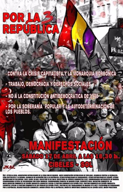 Una marcha recorrerá mañana el centro de Madrid por la III República al cumplirse 79 años de proclamarse la segunda