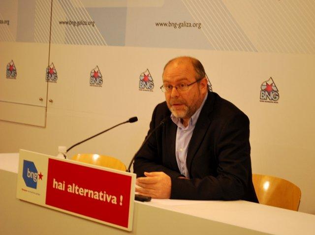 Manuel Antelo, secretario de Acción Municipal del BNG, en rueda de prensa