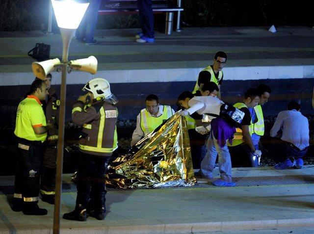 Accidente en la estación de Castelldefels Platja