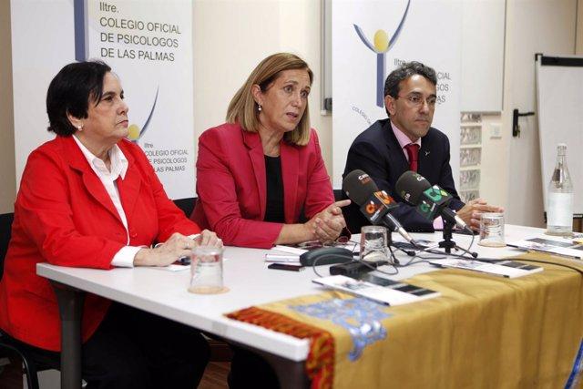 La consejera canaria de Sanidad, Mercedes Roldós (en el centro), en la presentac