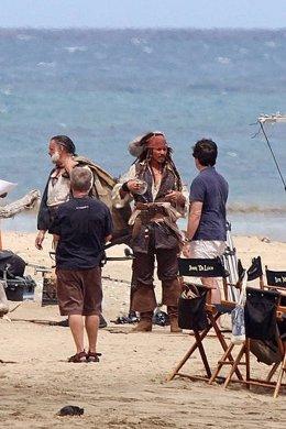 Johnny Depp en el rodaje de Piratas del Caribe 4