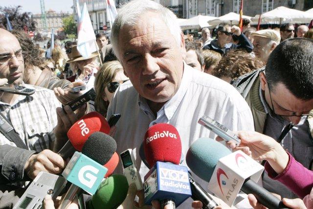 El Portavoz Nacional del BNG, Guillerme Vázquez, durante una manifestación