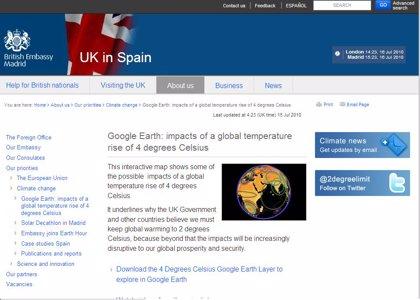 Reino Unido muestra los efectos del cambio climático en un mapa interactivo de Google Earth