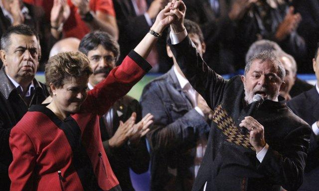 Acto de campaña de Lula en Brasil