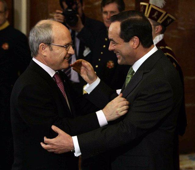 El presidente de la Generalitat de Cataluña, José Montilla y José Bono