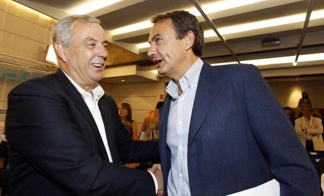 Manuel Vázquez (izqda) con Zapatero.