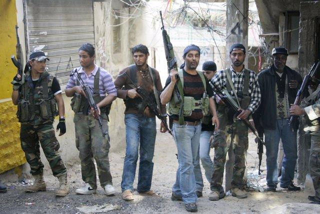 Milicianos de Al Fatah en Líbano