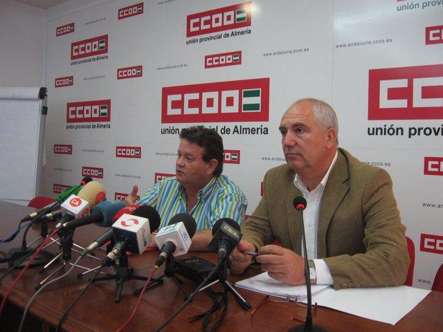 Francisco Carbonero, secretario general de CCOO A y Juan Pallarés, secretario pr