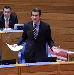 Feijóo comparece en el Parlamento