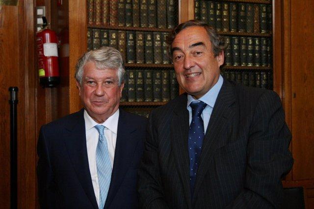 Los presidentes las patronales Ceim y Fomento del Trabajo, Arturo Fernández y Jo