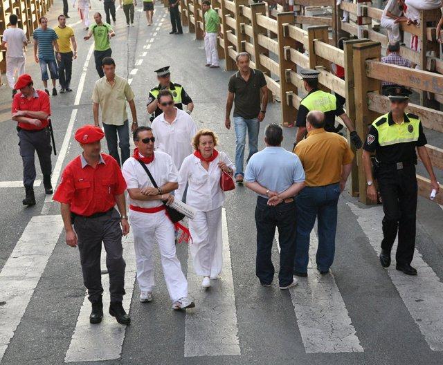 Agentes de la Policía Foral en las fiestas de Tudela.
