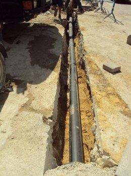 Obras de ampliación de la red de distribución de agua en Valencia