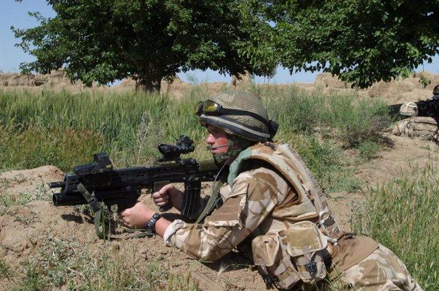 Soldado británico en la provincia de Helmand, Afganistán
