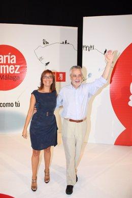Griñán y Gámez en el acto de presentación de la candidatura a la Alcaldía de Mál