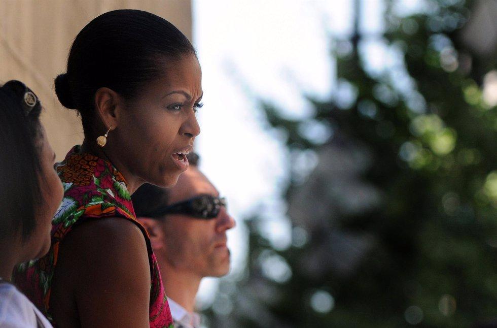 Michelle Obama visitando la Catedral de Granada
