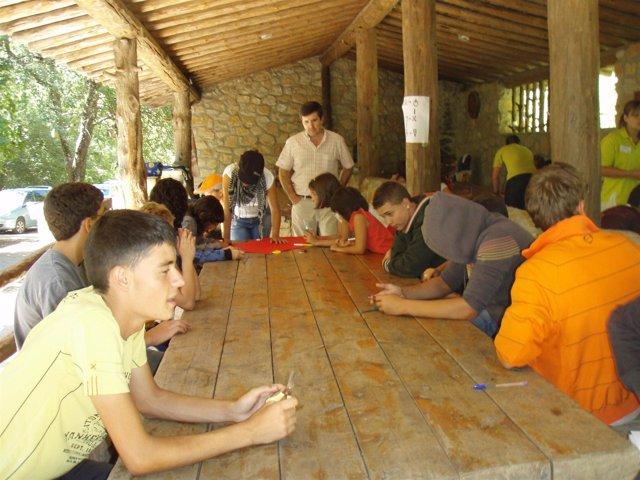 Participantes en el aula de la naturaleza de Tejadillos