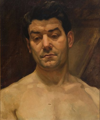 El Museo de Navarra expone en agosto el cuadro de Ciga 'Estudio de busto desnudo masculino'