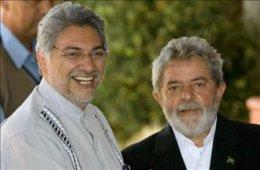 El presidente de Paraguay, Fernando Lugo, con su homólogo brasileño, Luiz Inácio