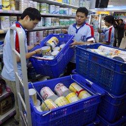 Leche en un supermercado de China