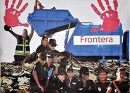 Cartel de la Frontera de Melilla con Marruecos