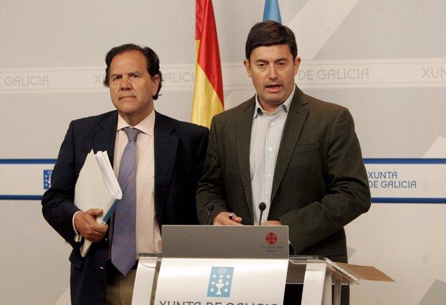 El conselleiro de Medio Rural, Samuel Juárez, y el director xeral de Conservació