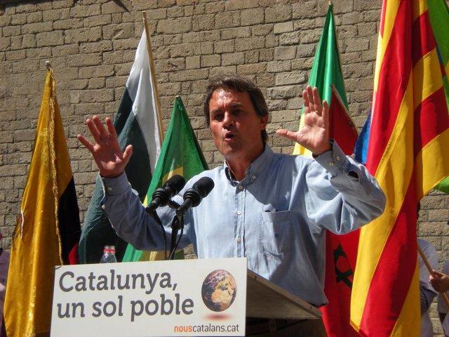 El líder de CiU, Artur Mas, en un acto sobre inmigración