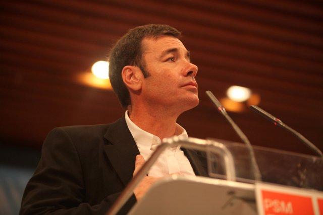 Tomás Gómez durante la presentación de su candidatura