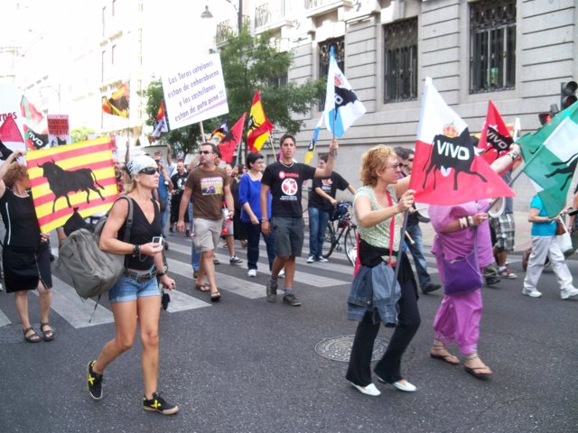 Grupo de manifestantes contra el Toro de la Vega