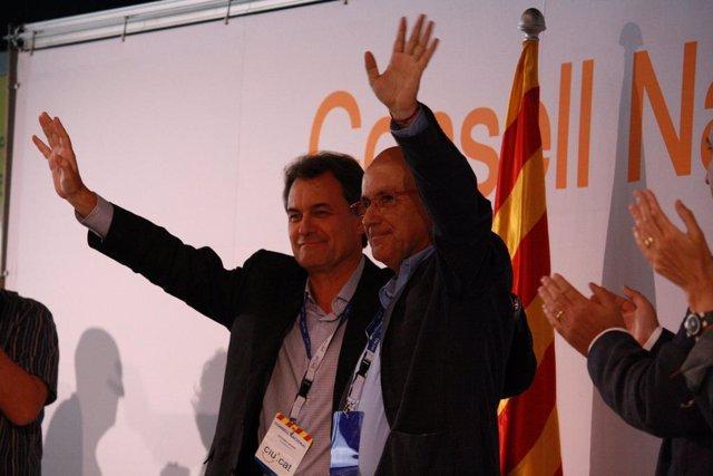 Artur Mas y Josep Antoni Duran en el consejo nacional de CiU