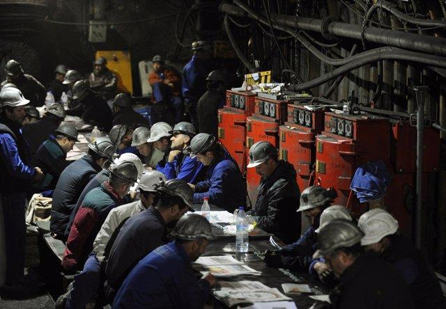 SPAIN-COAL/ Mineros encerrados en Palencia