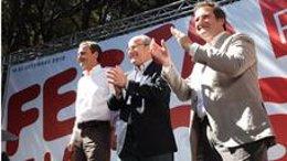 Zapatero, Montilla y Hereu, en la Festa de la Rosa
