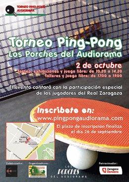 Cartel anunciador del I Torneo de Ping-Pong en Los Porches del Audiorama