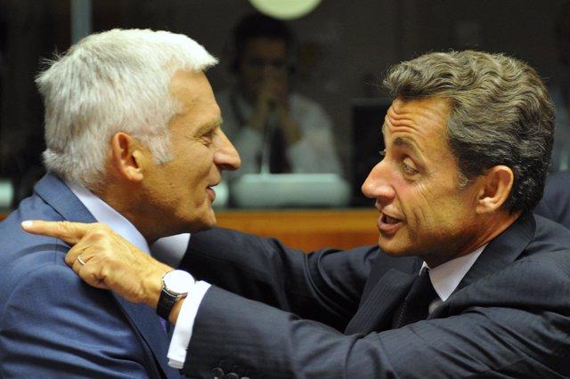 El presidente del Parlameto Europeo Jerzy Buzek y Sarkozy