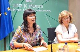 La consejera para la Igualdad, Micaela Navarro, en una rueda de prensa