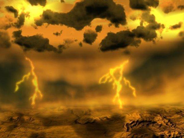 Recreación artística de rayos en Venus